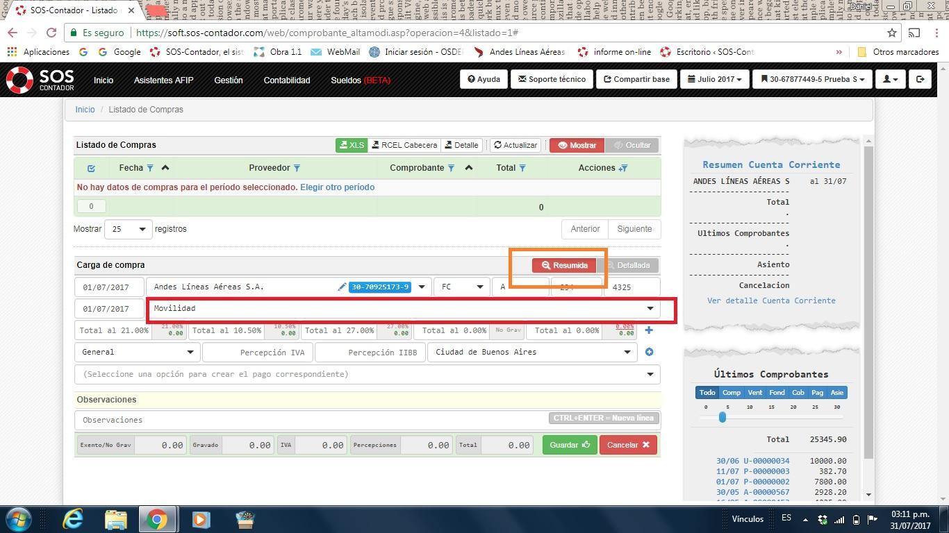 Carga resumida vs carga detallada sos contador la web - Central de compras web ...